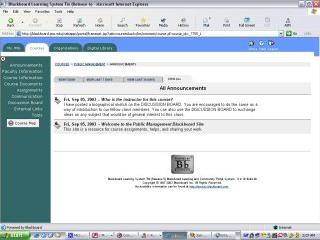 JMU's implementation of Blackboard, fall 2003