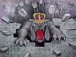 """JMU Duke Dog as painted in """"Duke Dog Alley"""""""