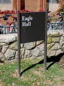"""Eagle Hall"" sign"
