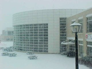JMU's College Center building in the snow