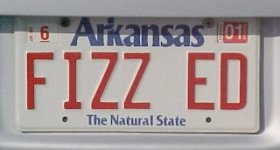 """FIZZ ED"" (as in Phys. Ed) license plate"