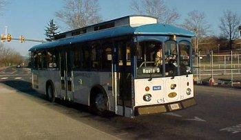 DuponTrolley trolleybus, painted in Harrisonburg Transit colors