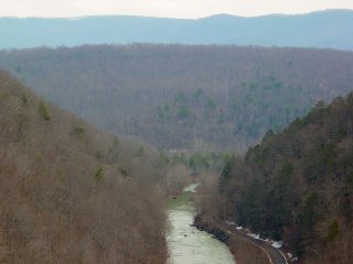 The Jackson River and the Alleghany Mountains in Alleghany County, Virginia