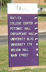 JMU directional sign at intersection of Bluestone Drive and Carrier Drive