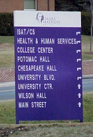 Later version of JMU directional sign at intersection of Bluestone Drive and Carrier Drive