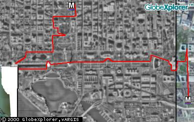 Route walked through DC on July 7, 2001