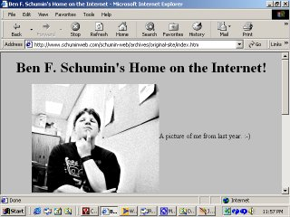 "The Schumin Web in its original form as ""Ben Schumin's Home on the Internet"""