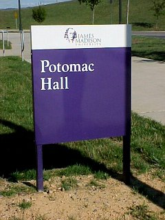 Potomac Hall's new purple sign