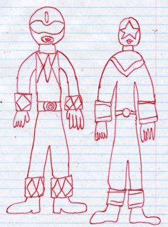 Drawing of the Blue Ranger from MMPR and Zeo Ranger V