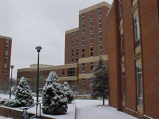 Snow outside Zane Showker Hall