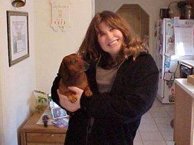 Ann Schumin and Greta the dog