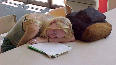 A woman sleeps