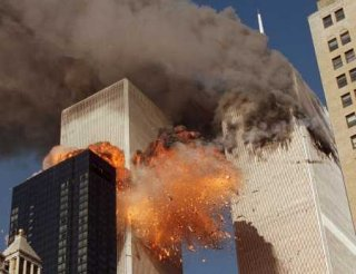 The World Trade Center as United Airlines Flight 175 impacts the South Tower.