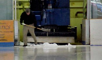 Cleaning up at the end of a zamboni run