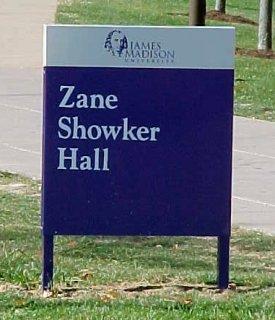 Zane Showker Hall sign