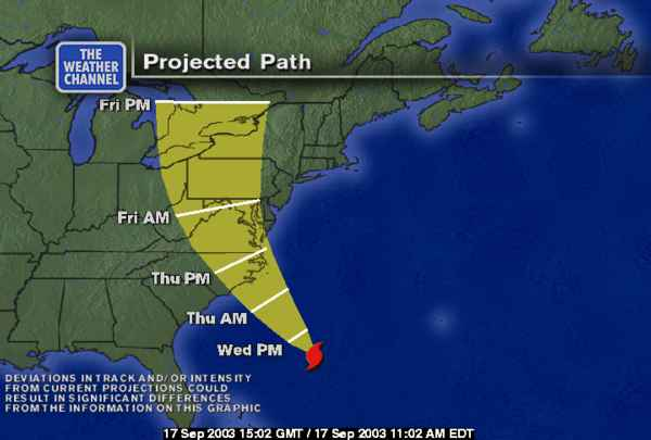 Hurricane Isabel projected path