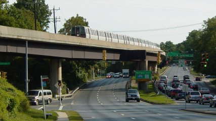 The bridge. This same bridge also takes Metro over the Capital Beltway, one of five places (six once Largo opens) where Metro goes beyond the Beltway.