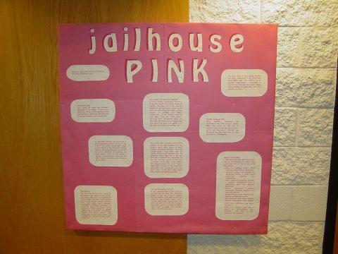 """Jailhouse Pink"" bulletin board"