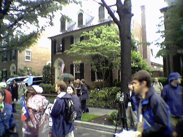 This house was the one identified at the time of the march as being Donald Rumsfeld's house, but according to a person posting on DC Indymedia, I identified the wrong house. I challenged him on Indymedia to identify the correct house, so we'll see how off I was, or if I ended up being correct after all.