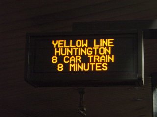 "Erroneous ""8 CAR TRAIN"" sign at King Street"