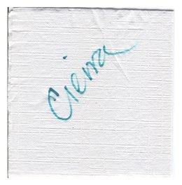 Cierra's signed napkin