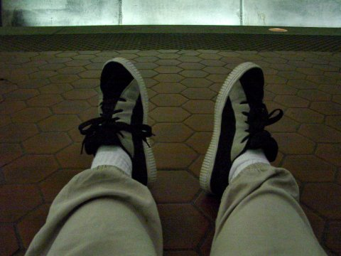 My feet at Rosslyn station, January 4, 2005