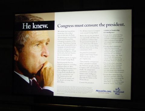 MoveOn advertisement claiming George W. Bush knew that there were no weapons