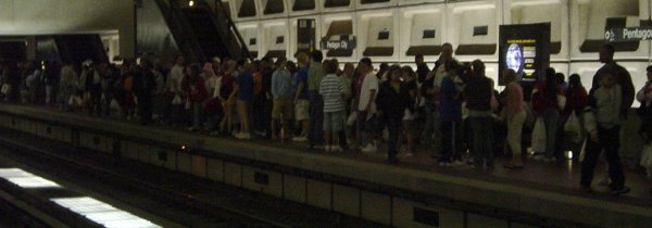 Crowded platform at Pentagon City