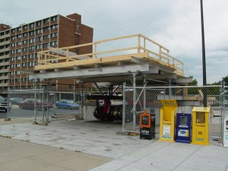 Entrance canopy under construction at Shaw-Howard University