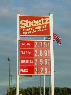 Gas prices at the Sheetz in Mt. Jackson, Virginia