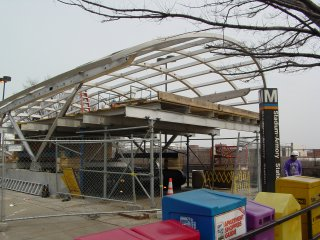 Stadium-Armory canopy under construction