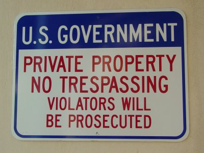 US Government Private Property sign