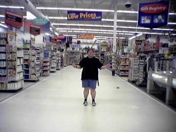 Standing on the new tile at the Wal-Mart in Woodstock