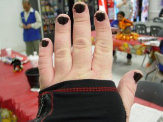 Black nails, left hand