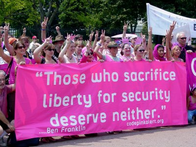 Code Pink in front of the White House on July 4
