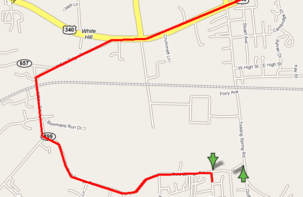 Map of Stuarts Draft, Virginia showing detour route from Forest Springs/Ridgeview Acres area to intersection of US 340 and VA 608