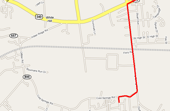Map of Stuarts Draft, Virginia showing normal route from Forest Springs/Ridgeview Acres area to intersection of US 340 and VA 608