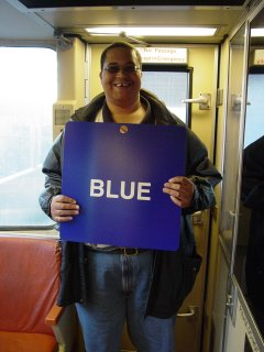 "Matthew holds the ""BLUE"" sign on Breda 4039"