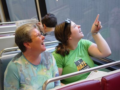 Mom and Sis act the part of tourists on board CAF 5082 at Vienna