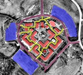 Waynesboro Outlet Village from satellite imagery with color overlays