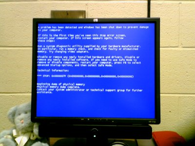 """Blue screen of death"" on Mom's computer at SDMS"