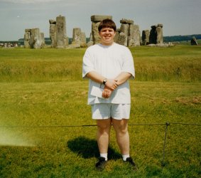 I pose in front of Stonehenge in 1998
