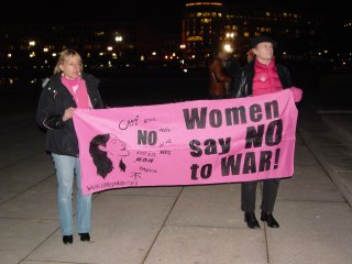 Code Pink had a banner as well. Medea Benjamin is standing at left.