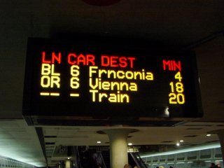 PIDS on the lower level of Metro Center