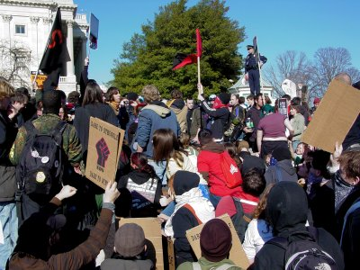 The J27 demonstrators at the southeast corner of the Capitol