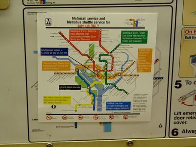 Metro's special July 4 service map