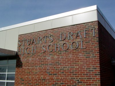 New sign lettering at Stuarts Draft High School