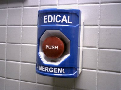 "Wheelock push station at IKEA, marked ""MEDICAL EMERGENCY"""