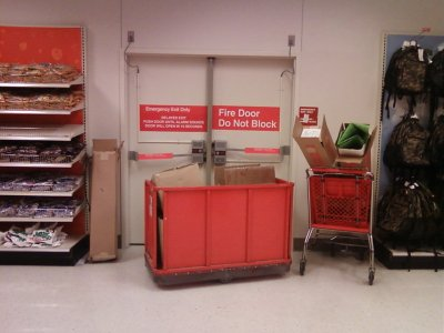 Blocked fire exit at Target in Wheaton