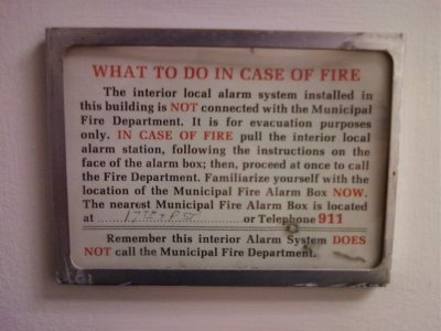 "Vintage ""What To Do In Case Of Fire"" card"